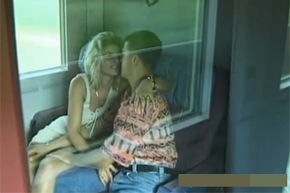 Blond girlfriend, who loves sex on a train!