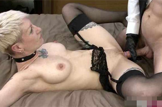 Shorthaired sex slave gets tied up and fucked by lover!
