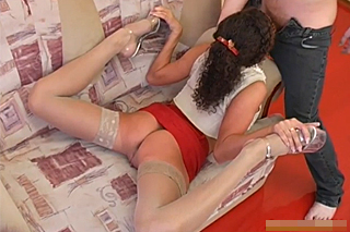 Curly gymnast spreads her legs for her boyfriend