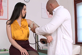 Doctor bangs black-haired patient