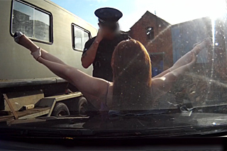 Police officer fucks redheaded driver