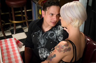 Tattooed blonde fucks with her lover in a restroom at a restaurant! (Kleio Valentien)