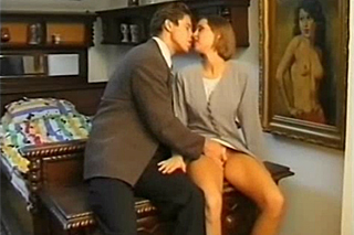 Job interview ends in historical bedroom  retro porn