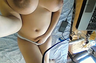Busty amateur showing both of her holes off in a home solo