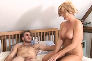 Busty cleaner fucks with her employer's son!