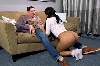 Conversing with stepfather ends by a long oral satisfaction