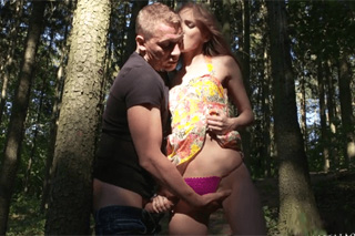 Horny married couple indulging erotica in a forest! (Kira Parvati and Martin Q)