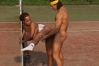 Sex on the court, or Czech tennis coach George Uhl and busty ebony Anja