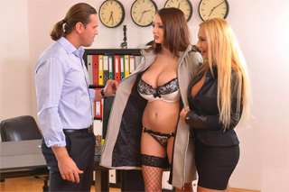 Sexual training for new secretary! (Lucie Wilde and Kyra Hot)