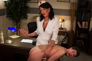 Shemale Dr Morgan Bailey anally fucks young student at interview