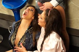 Mad threesome in the Czech Bar - piss porno