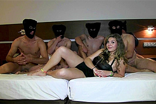 Spanish amateur girl and five cocks - gangbang porn