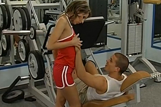 Sportswoman Victoria Slim shagging a gym member instead of running on a treadmill