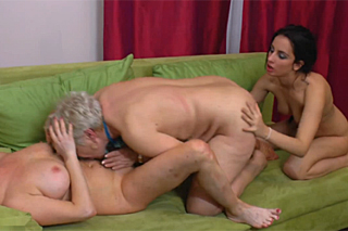 Old lesbian couple in a threesome with a young neighbor!