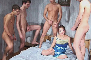 Students pay for gang bang with mature prostitute!
