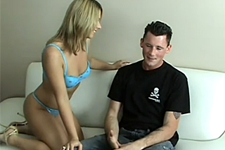 Shy young gay Barret Long trying it with a girl!