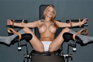 Tied up blonde Lou Lou and a black dominatrix with a vibrator - BDSM porn