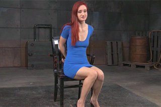 Tied up redhead experiences rough BDSM torture!