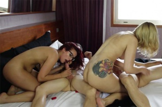 Swingers of two couples in a hotel room!