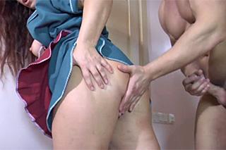 Son screws papa's maid with juicy big ass