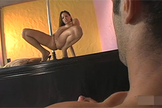 Dancer Halye Paige has anal sex with client by the stripper pole