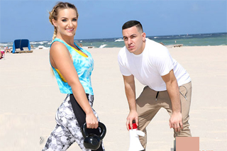 Trainer banging his trainee Cali Carter on the beach after the workout