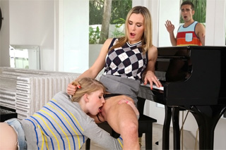 Piano teacher in group sex with step-daughter and her boyfriend (Tanya Tate and Allie James)