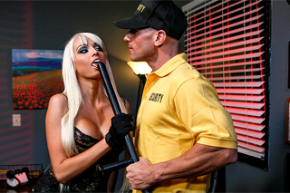 College student Rikki Six and a night watchman Johnny Sins (HD porn)
