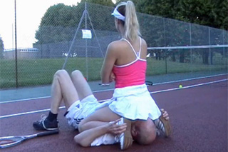 Losing game and facesitting on the tennis court!