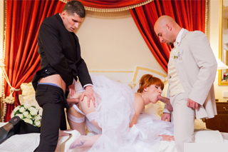 Ginger bride on a threesome with a groom and the best man!