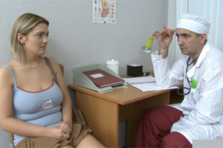 Twisted gynecologist fucking his busty patient Petra